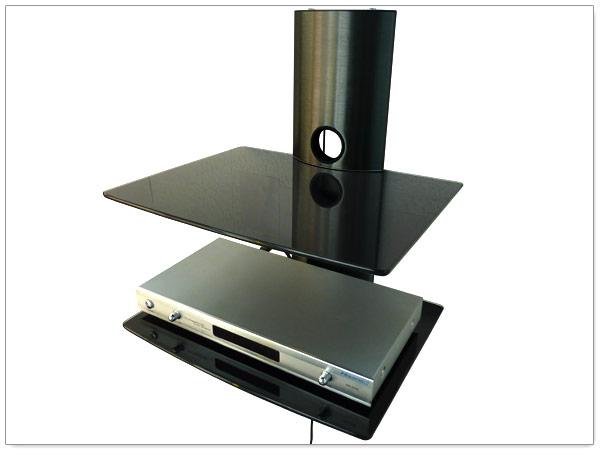 glasregal dvd blu ray player spielkonsole tv receiver halter glas rack schwarz ebay. Black Bedroom Furniture Sets. Home Design Ideas