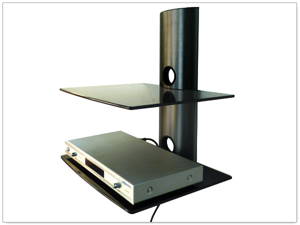 Glass Shelves DVD BluRay Player Game Console TV Receiver Halter Rack Black   U003e Tv Rack Buche Glas