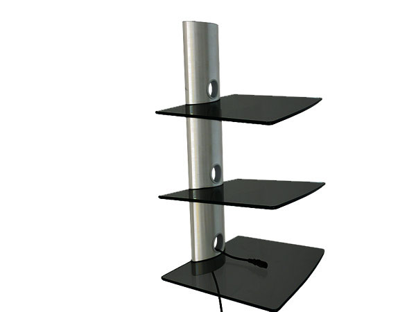 dvd hifi glas media regal 3 ablagen konsole tv wandhalter. Black Bedroom Furniture Sets. Home Design Ideas