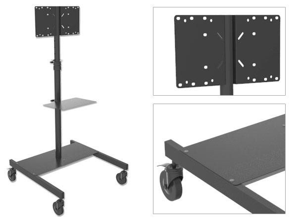 standhalterung mit media ablage led lcd tv st nder rollbar messe messestand. Black Bedroom Furniture Sets. Home Design Ideas