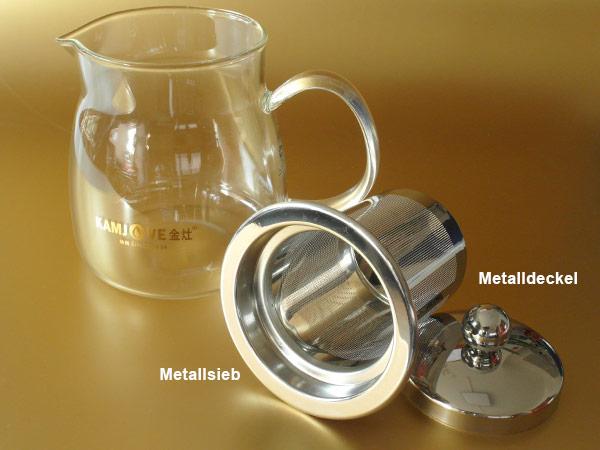 kamjove glas teekanne kaffekanne 600 ml metallsieb teesieb teeeinsatz teapot. Black Bedroom Furniture Sets. Home Design Ideas