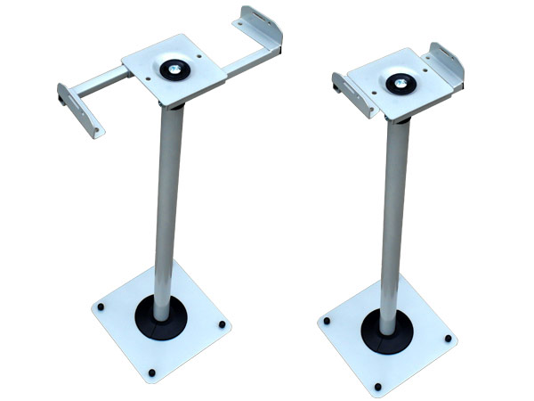 2 x Ständer silbergrau höhenverstellbar für Lautsprecher Audio Boxen Kabelkanal